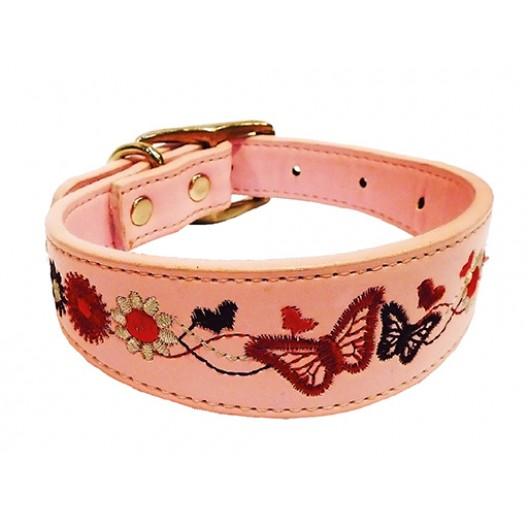 Купить Ошейник Колибри с вышивкой розовый