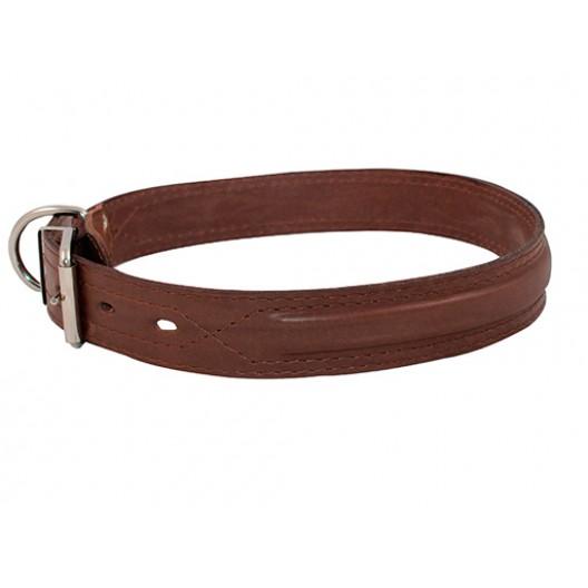 Купить Ошейник кожаный Элита тройной с рельефной полосой в обрезку 25 мм, обх шеи 43-51 см