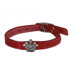 Ошейник кожаный Флер с украшением Корона со стразами 10 мм, обх шеи 16-20 см