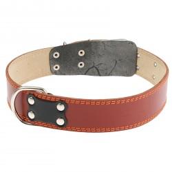 Ошейник кожаный с подкладом 82,5*4,5 см, с выносным кольцом