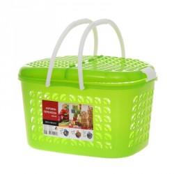 Корзина-переноска малая, цвет зеленый прозрачный