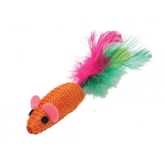 Купить Когтеточка- мышь цветная с перьями 2,5см