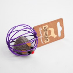 Мышь меховая в проволочном шаре