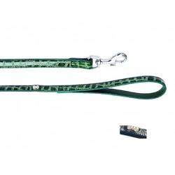 Поводок Колибри с украшением Косточка со стразами, синий, зеленый